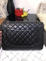 AUTH CHANEL BLACK QUILTED LAMBSKIN LEATHER MAXI CLASSIC FLAP BAG SHW image 3