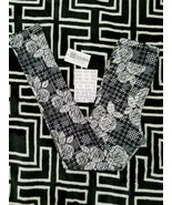 NWT LuLaRoe Kids L/XL Leggings Black White Rose Hounds Tooth Patchwork - $15.83