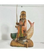 Hand Carved Wooden Fish w/ man Figure Sculpture Nautical Tropical Decor ... - $59.40
