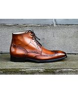 Handmade Men's Ankle High Brogue Patina Finish Leather Boots Custom For ... - $189.99+