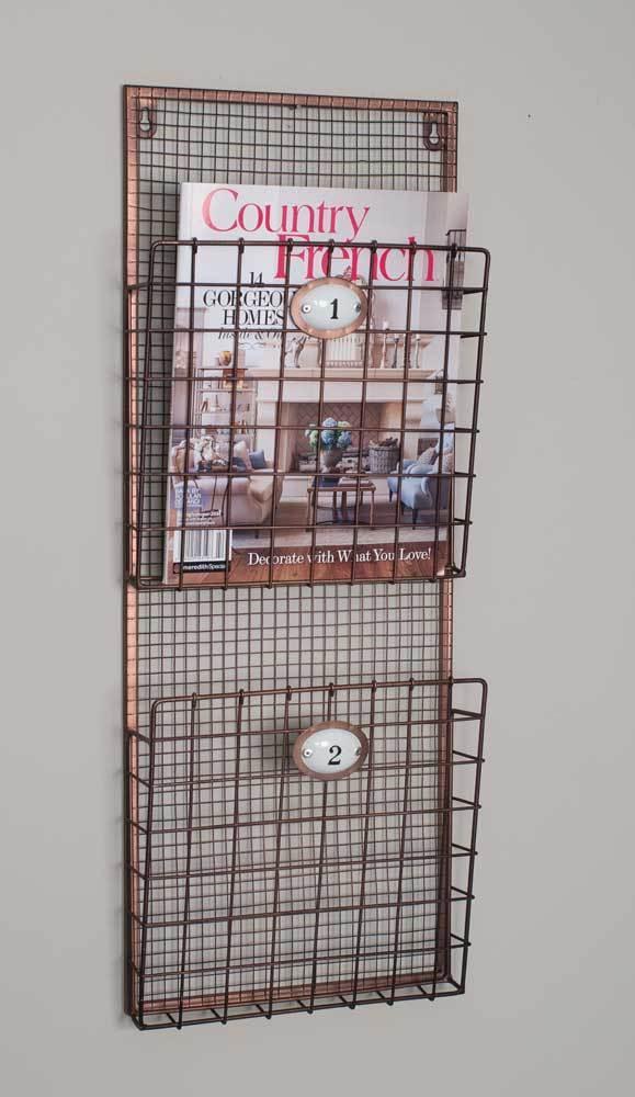 Hanging Magazine Rack File Holder Wire Wall Pocket Vintage Organizer Storage New