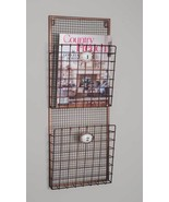 Hanging Magazine Rack File Holder Wire Wall Pocket Vintage Organizer Sto... - $45.49