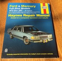 Ford & Mercury 1973-1986 Full Size Models Haynes Repair Manual Book 3603... - $15.99
