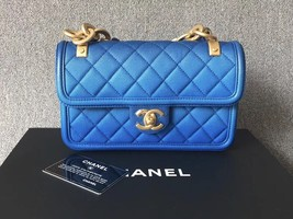 SUPER RARE AUTH CHANEL 2019 CRUISE BLUE SUNSET ON THE SEA CALFSKIN FLAP BAG