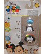 Disney Tsum Tsum 3 Pack Series 1 Stitch 134 Figaro 120 Goofy 109 StackEm... - $8.00