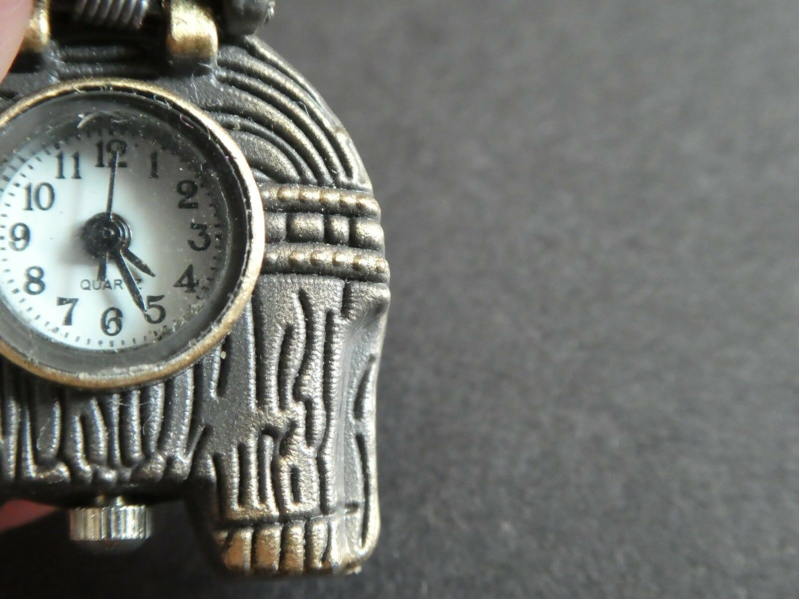 Empowering Vintage Elephant Necklace Watch Bronze Tone Quartz Need Battery image 4