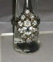 Vintage Silvertone FLASHY Rhinestone Cocktail Ring Adjustable Size 7-11 - $18.95