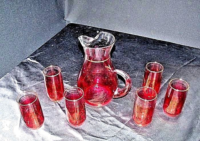 Red Opaque Pitcher with 6 Matching Glasses AA18 - 1178 Vintage