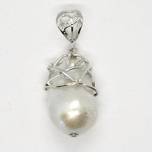 925 Silver Pendant with White Pearl FW Handcrafted Unique Pendant image 2