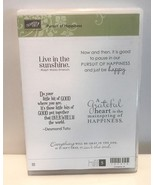 Stampin Up PURSUIT OF HAPPINESS Sayings Greetings Words Rubber Stamps Set Lot - $19.79