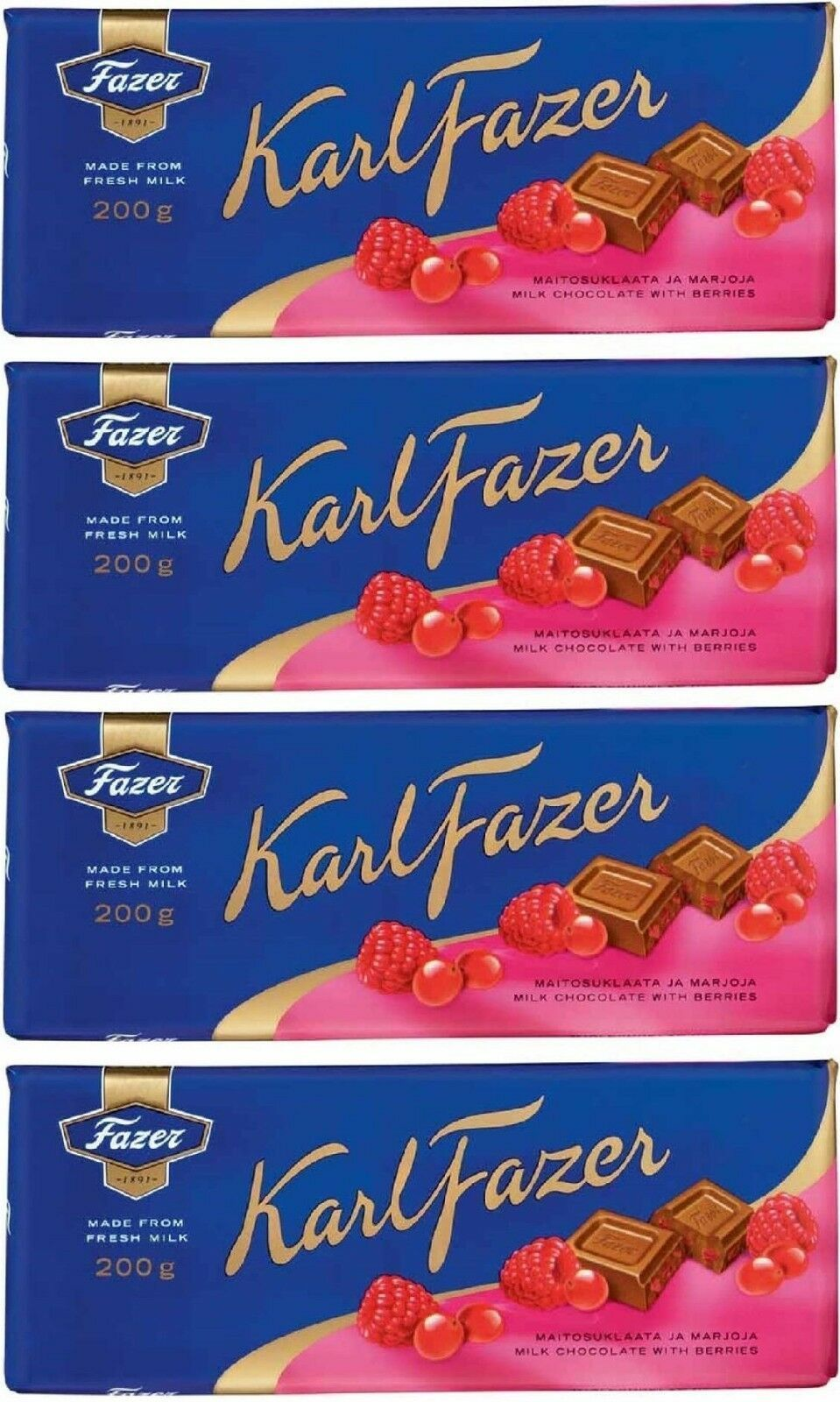 FAZER Karl Fazer Red berries in milk chocolate 4 x 200 g (4 pcs)