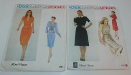 2 VOGUE Designer Dress Patterns Albert NIPON 2361, 2473 sz 8 Uncut Vtg 1980 - $14.45