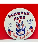 Burbank Elks Lodge button 1983 chil cook off 1497 american flag pinback ... - $19.07