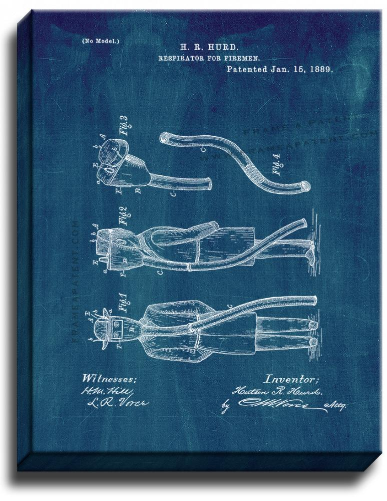 Primary image for Respirator For Firemen Patent Print Midnight Blue on Canvas