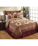 Quilt & Shams 3pcset Olivia's Heartland country primitive Burgundy Colon... - $164.95+