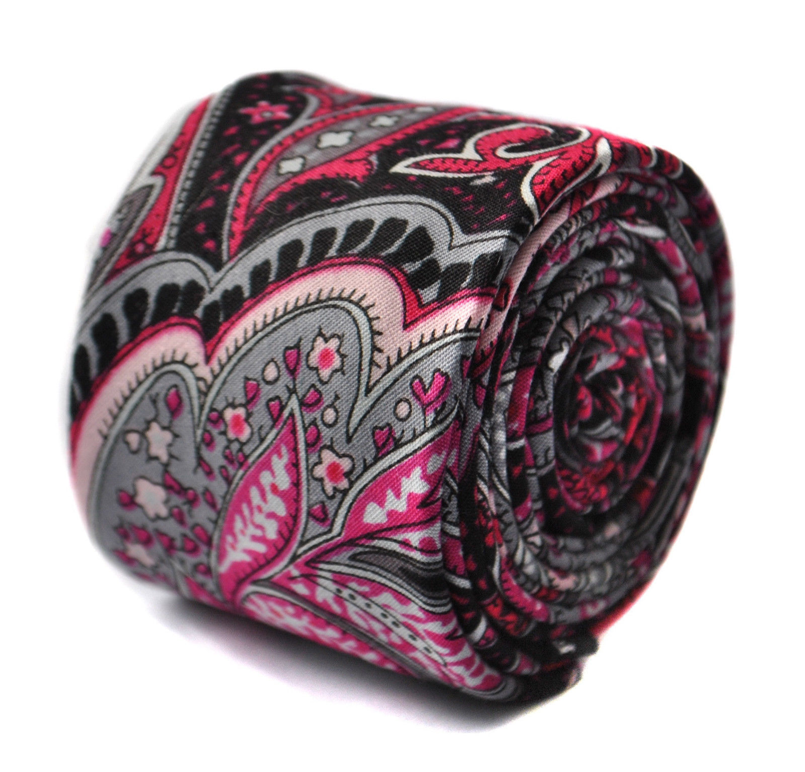 Frederick Thomas black and pink paisley skinny linen tie FT1644