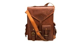 New100%Real Two In One Laptop Shoulder Tan Brown Soft Leather Travel Bac... - $65.55