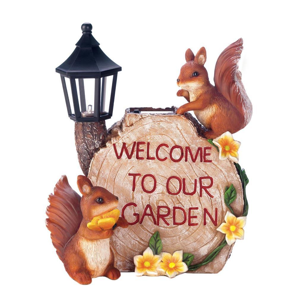 Solar welcome to our garden squirrels image