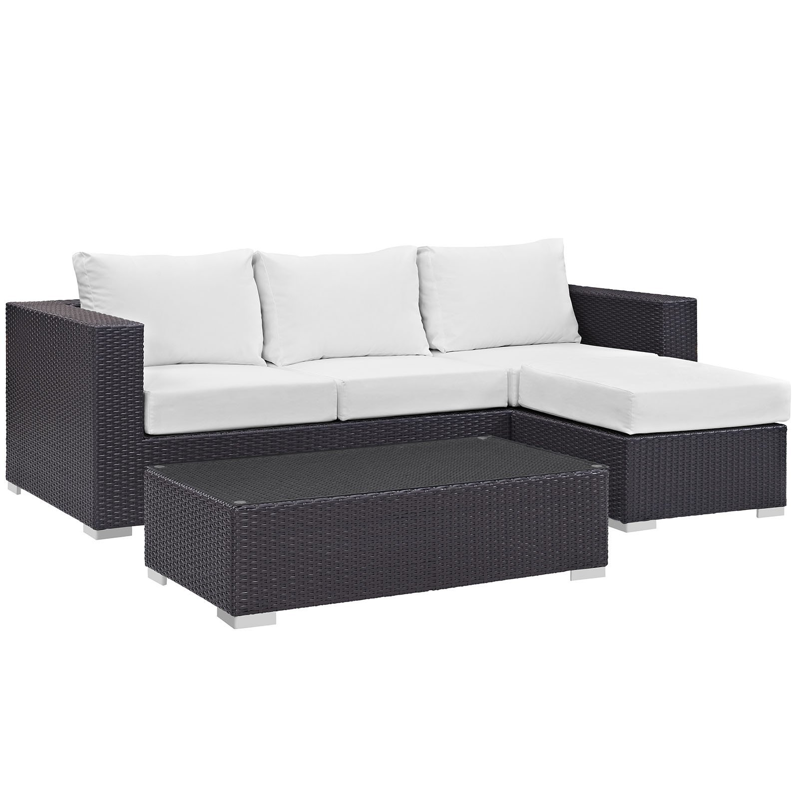 Convene 3 Piece Outdoor Patio Sofa Set Espresso White EEI-2178-EXP-WHI-SET