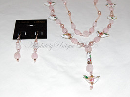 Lover's Fantasy-Morganite Gemstone & Cloisonné Heart Necklace and Earrin... - $280.00