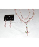 Lover's Fantasy-Morganite Gemstone & Cloisonné Heart Necklace and Earrin... - $560.00