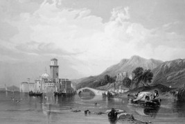 ITALY Scenery in Gulf of Venice by Stanfield - 1875 Antique Print Engraving - $22.49