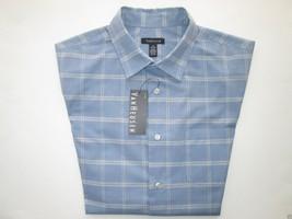 Van Heusen Spread Faux Linen Men' Sport Shirt Blue Infinity M MSRP $50 - $28.49