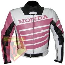 HONDA 9019 PINK WOMAN MOTORBIKE ARMOURED COWHIDE LEATHER MOTORCYCLE JACKET - $194.99