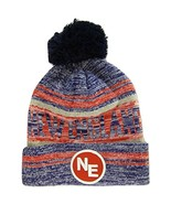 New England NE Patch Fade Out Cuffed Knit Winter Pom Beanie Hat (Navy/Red) - $11.95
