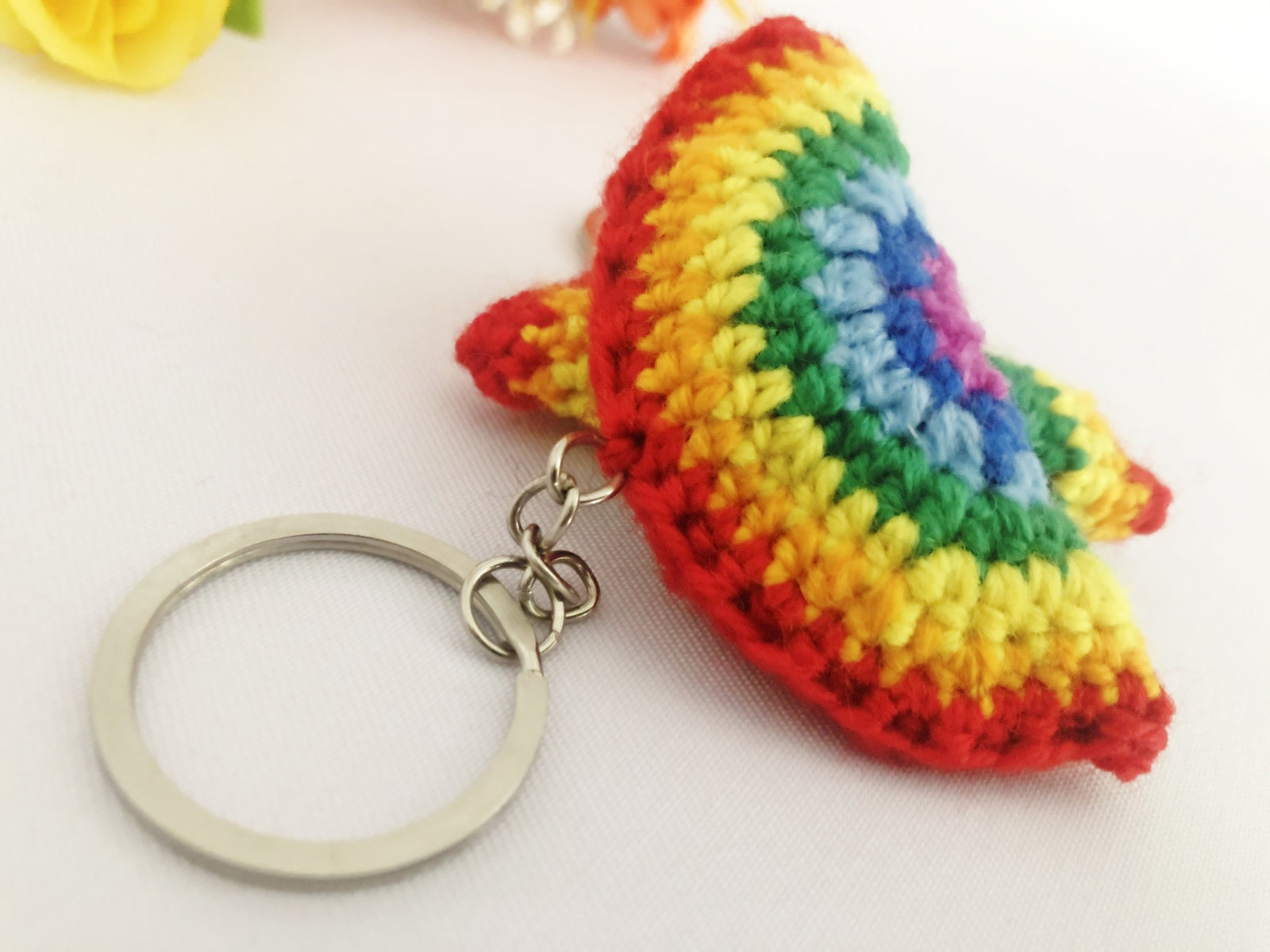 Primary image for Rainbow Keyring Crochet Gift Keychain Handmade Present For New Year Season