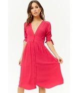 Pretty in Pink Tie-Sleeve Button Knee Length Midi Dress Stunner - Small - $25.00