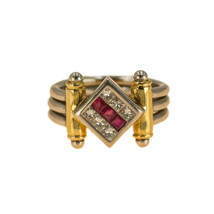 Ruby and Diamonds Mens Ring 18k Gold UK Size N BHS - $1,887.88