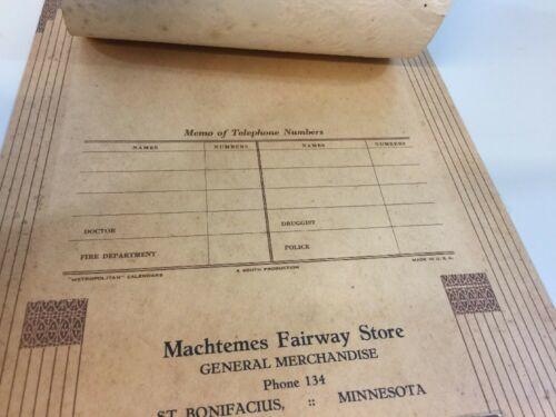 Vtg 1946 Calendar Machtemes Fairway Store St. Bonifacious Minnesota image 6