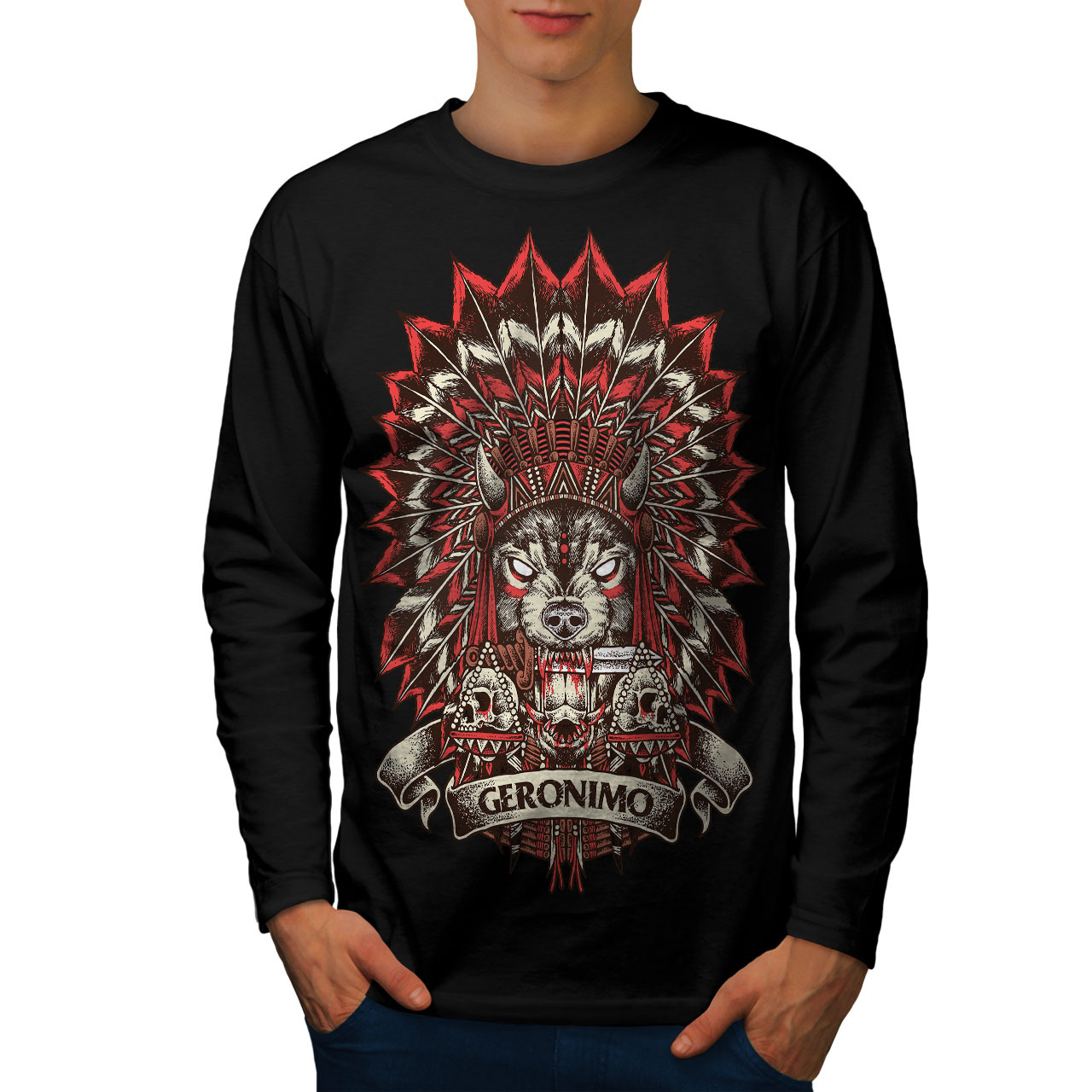 da9f558e297 D2903xmxsxbxmain. D2903xmxsxbxmain. Previous. Geronimo Skull Horror Tee Men  Long Sleeve T-shirt · Geronimo Skull ...