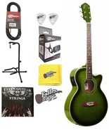 Oscar Schmidt OG10CEFTGR Trans Green A/E Guitar w/Effin Strings, Picks a... - $199.95