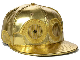 NEW ERA 7 1/8 59fifty Character BIG Face Premium C-3PO Hat Star Wars Gold Droid - $121.51