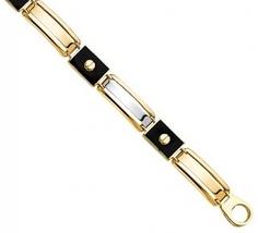 Men's 14K Two Tone Gold & Black Enamel Bracelet image 3