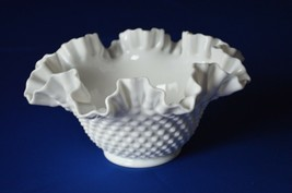 "Fenton Hobnail Milk Glass Bowl #3924 MI 9"" Top Diameter 4 5/8"" Tall - $14.85"