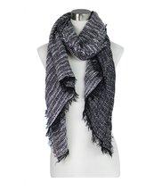 Le Nom Two Tone Twill Weave Pattern Scarf (BLACK) - $11.87
