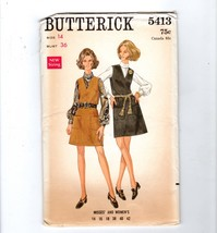 1960s Butterick Semi-fitted A-Line Jumper Dress Blouse Pattern 5413 14 - $10.40