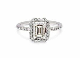 1.85Ct Emerald Cut White Diamond Halo Engagement Ring in Solid 14K White... - £199.05 GBP