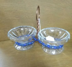 Bluebird BIRD FEEDER 2 glass dishes  - Cute Made Dish with blue Beads - $24.25