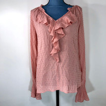 Gap Women's Pink Long Sleeve Peasant Flowing Blouse Textured Polka Dot Sz S - $12.59
