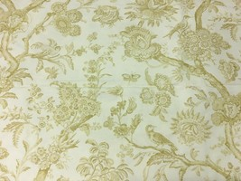 Stroheim & Romann Cream and Sand Toile with Birds Upholstery Drapery Fab... - $199.50