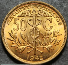 Bolovia Half Boliviano (50 Centavos), 1942-P Gem Unc Red~Non Reeded Edge... - $8.31