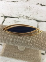 Monet Gold Toned Brooch Pin Jewelry Navy Blue Oblong Elegant - $13.86