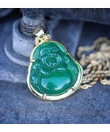 Mens Solid 14k Gold Green Jade Buddha Pendant Chain Necklace - £17.64 GBP