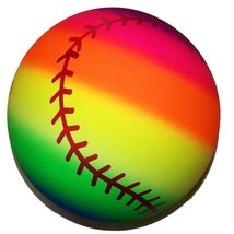RAINBOW SPORTS BASEBALL BALL kick bounce squeeze novelty play toy bounci... - $4.51