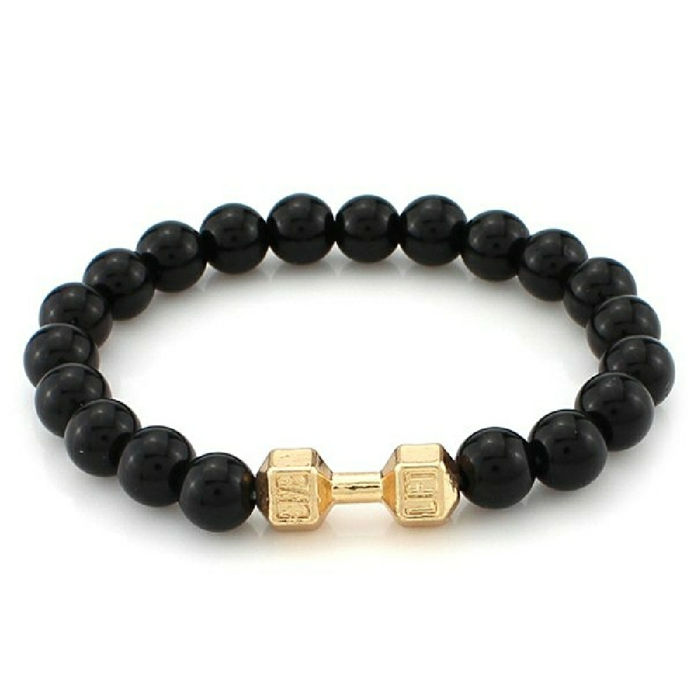 Fashionable polished beads dumbell shape bracelet golden