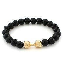 Black / Gold Dumbbell Bead Bracelet - $15.00
